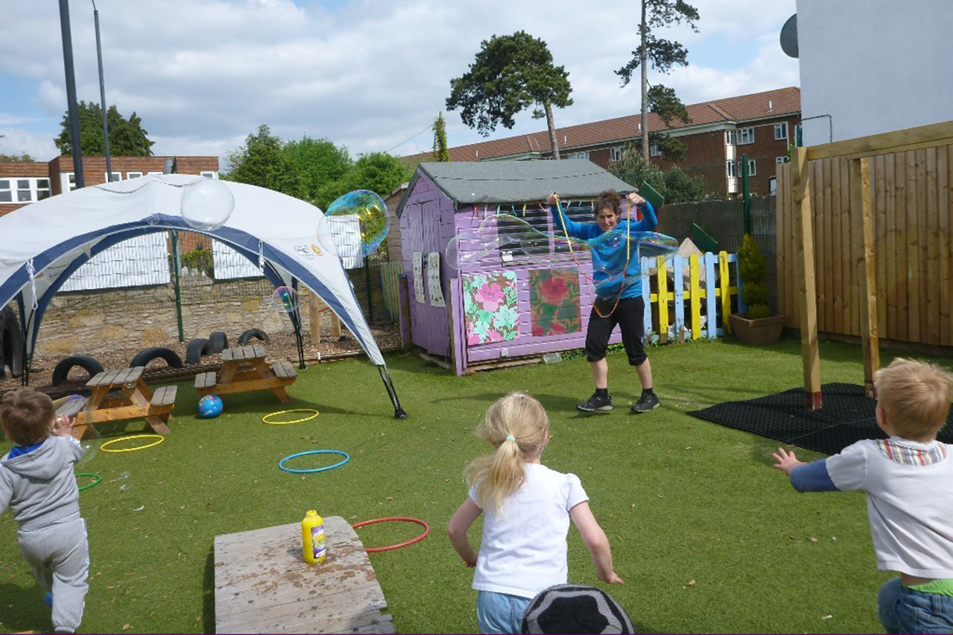 Catching bubbles at Purple Childcare